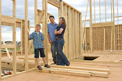 Young Family happy during new construction